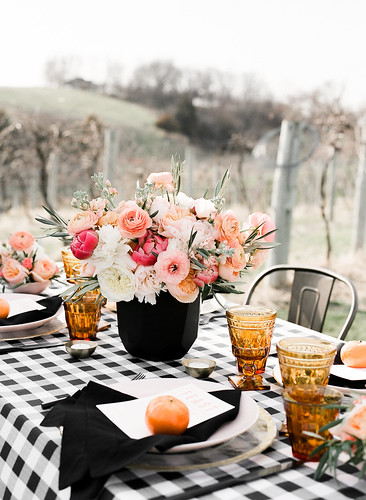 "Black Gingham Table Setting with Floral Centerpiece and Bistro Chairs • <a style=""font-size:0.8em;"" href=""http://www.flickr.com/photos/81396050@N06/42234730302/"" target=""_blank"">View on Flickr</a>"