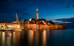 Croatian Nights (Bernd Thaller) Tags: rovinj istarskažupanija kroatien hr city town sea water island church buildings nightshot night blue bluehour reflections sky dusk tower