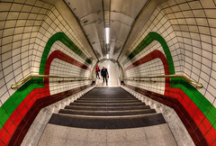 Coming Up (D-W-J-S) Tags: london2018 flickr london tube picadilly circus station underground steps stairs tunnel tiles people red green staircase