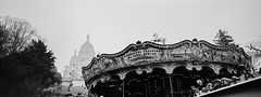 Snow in Paris - Montmartre (Danielle Bednarczyk) Tags: paris france montmartre carousel blackandwhite bw snow winter film hasselblad xpan