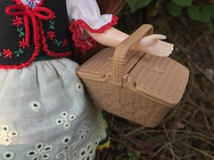 Basket for herb collecting (Foxy Belle) Tags: blythe doll joana 2018 takara woods trees outside nature picnic basket stock neo gentiana folk dress folksy flower floral motif