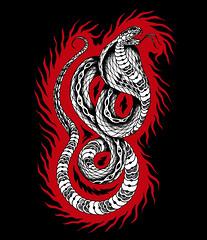 Cobra en llamas (Bastian Klak) Tags: snake cobra llamas illustration klak bastianklak gac chile santiago artwork draw linker ink liner tattooidea stippled dots