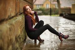 Long legs ! (chrisnormandale) Tags: girl model redhead young beauty portfolio legs funky boots maroon architecture portrait historic building church canon wwwchrisnormandalecom