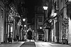 Alone (Roi.C) Tags: street night candid outdoor people walking light black white blackwhite blackandwhite monochrome nikkor nikond5300 nikon urban city portugal europe road