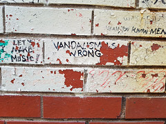 Vandalism is wrong (Fred:) Tags: walls writing bricks messages graffiti wall painted white brick message phrase thought thinking proverb saying philosophy halifax novascotia write words sharpie funny amusing witty phrases vandalism vandalisme wrong