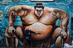 Sumo (Silver Machine) Tags: london bricklane streetphotography street candid graffiti sumo streetart girl standing bellybutton navel posing outdoor people fujifilm fujifilmxt10 fujinonxf35mmf2rwr