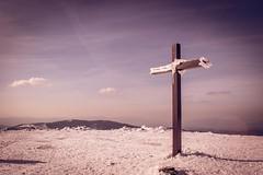 Wooden cross (konradheine) Tags: cross mountain outdoor snow landscape nikon beskidy hiking d3300 pilsko poland góry