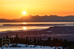 Sunset (fentonphotography) Tags: flattop alaskarange orangesky anchorage landscape cookinlet water trees silhouette snow winter