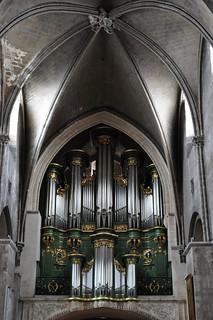 Orgue de Dom Bedos (1745), église abbatiale Sainte Croix (XIe-XIIe-XIXe), style roman saintongeais, Bordeaux, Nouvelle-Aquitaine, France.