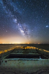 And He Sailed Off Into the Galaxy (slworking2) Tags: niland california unitedstates us boat vessel desert galaxy night sky milkyway bombaybeach saltonsea