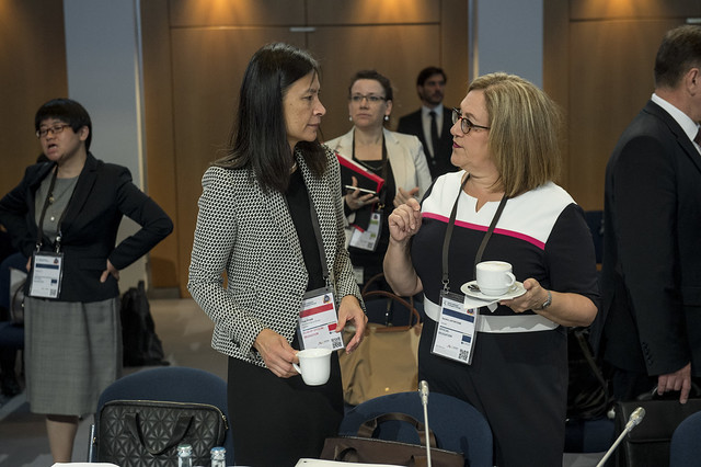 Thao Pham in discussion with Sandra Lafortune at the Closed Ministerial