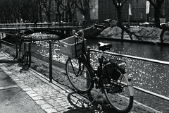 bike with bokeh@Kö, Düsseldorf 3 (Amselchen) Tags: mono blackandwhite bnw light shadow bike bicycle water bokeh blur dof depthoffield fujifilm fujifilmxseries fujinon xt2 xf35mmf2rwr fujifilmxt2 season spring