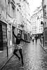 Paris, ballet and the rain (petespande) Tags: paris ballet ballerina blackandwhite rain cobblestone oldcity