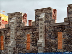 ... (Jean S..) Tags: abandoned wall windows stone sky clouds winter plywood old ancient