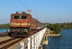 16630 Malabar express. (Gautham Karthik) Tags: trains trainspotting indianrailways railroad electriclocomotive kerala backwater paravurlake wap4 morning