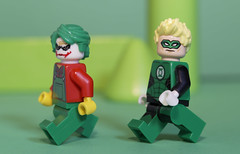 Green Lantern is chasing the Joker after his latest caper (N.the.Kudzu) Tags: tabletop lego minifigures joker greenlantern primelens manualfocus canon430ex canondslr lensbabyvelvet56