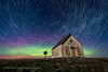 The Liberty Schoolhouse with Star Trails (Amazing Sky Photography) Tags: 1910 advancedstackeractions alberta aurora circumpolar laowa libertyschoolhouse luminar moonlight northernlights polaris sony abandoned nightscape oneroom pioneer prairie rustic sky startrails stars