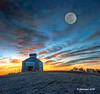 Fancy Sunset_186776 (rjmonner) Tags: photoshop artistic sunset corncrib farmland birds moon iowa texture rural agriculture farm field corn dormant orange blue clouds midwest cornblet grass dilapidated relic farmfield bluemoon
