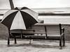 Under the Umbrella (mjhedge) Tags: olympus getolympus oly honolulu waikiki umbrella bench ocean beach hawaii monochrome blackandwhite blackwhite bw