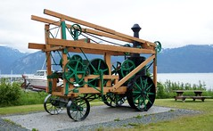 Portable Gold Drilling Machine. (JLS Photography - Alaska) Tags: hainesalaska haines golddrilling keystonedrillercompany jlsphotographyalaska machine antique contraption historic wheel sky grass