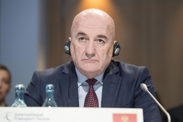 Osman Nurković following what is being said at the Closed Ministerial