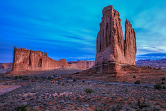 Courthouse Towers (TWK2011) Tags: sky arches national park moab utah blue rock formation landscape southwest usa earth tones sunrise light early morning orange green canyon soil grass mountain