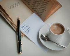 Elizabeth David recipe (David M:) Tags: stilllife coffee food book spoon espresso mediterranean pen waterman nib page