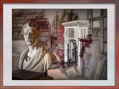 Oxburgh Hall Library (National Trust) (Bobinstow2010) Tags: red pink house library head statue bust arty topaz photoshop oxburghhall nationaltrust mansion estate colour color fireplace books frame