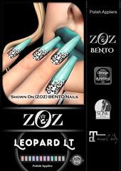 {ZOZ}  Leopard Lt Pix Bento L (Zoz icon) Tags: zoz zozicon {zoz} applier mesh meshnails mani manicure pedi pedicure frenchtip french beach ocean starfish slocca original slink maitreya omega vista vistabento leopard print