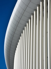 Luxembourg Philharmonie 1 (RobertLx) Tags: architecture modern white row vertical blue luxembourg europe city contemporary repetition graphic column music concerthall geometric lines philharmonieluxembourg curves curve abstract