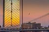 Manhattan Sunset (Harry2010) Tags: manhattan newyork manhattanbridge sunset construction highrise bird seagull sky pink yellow orange brownstone