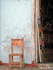 ... (Jean S..) Tags: cristal beer chair bottle door painting wall outdoors old ancient blue wood street trinidad cuba