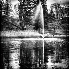 The fountain (:: Blende 22 ::) Tags: 2018 deutschland germany thuringia thüringen heilbadheiligenstadt heiligenstadt kreisstadt kurpark garden park frühling spring springtime blumen canoneos5dmarkiv eichsfeld landkreis obereichsfeld licht light wasser teich lake fountain ef2470mmf28liiusm blackwhite blackandwhite black white bw