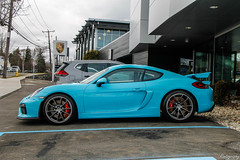 2016 Porsche 981 Cayman GT4 (Rivitography) Tags: rare exotic fast car expensive horsepower luxury greenwich connecticut 2018 canon rebel t3 adobe lightroom rivitography porsche 981 cayman gt4 blue supercar