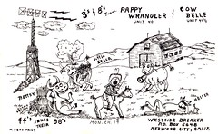 Jens: Pappy Wrangler & Cow Belle - Redwood City, California (73sand88s by Cardboard America) Tags: qsl qslcard cbradio cb vintage california jens cow cowboy