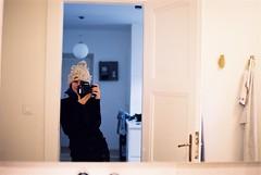 In the mirror VII. (Misiska) Tags: analog shootfilm shotonfilm sigma shootanalog scan selfportrait selfie inside interior inthemirror film f100 filmshooters filmisnotdead kodak kodakportra400 portra portra400 portrait camera nikonf100 nikon nikonsigma35mm 35mm turtleneck bathroom bathroomselfie