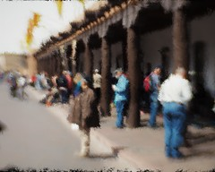 Indian Market, Santa Fe Plaza (Richard Denney) Tags: santafe palaceofthegovenors abstract impressionist newmexico blur color history nativeamerican painterly crowd