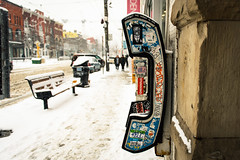 Graffiti Alley - Snow (Katherine Ridgley) Tags: toronto city downtown urban streetphotography street stock west people person walk walking store storefront business businesses phone phonebooth tag tagged tagging snow winter cold weather slush falling fallingsnow stockphotography season seasonal