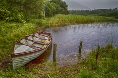 Kylemore Abbey, Ireland: Workman's Boat (rocinante11) Tags: kylemoreabbey connemara lake boat rainy ireland rain