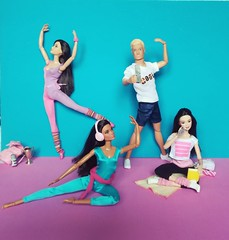Gym's Life 💙 (Lo_zio87_Barbie Collector) Tags: barbie madetomove maledollcollector miko claudette gordon mold tom marina gym 2018