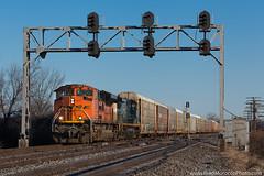 CSX Q241 at Fostoria, Ohio (Brad Morocco Photo) Tags: 9071 ace autoracks co csx emd foreignpower pembervillesub powerbar q241 sd70ace signal
