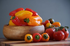 Tomatoes and Peppers (The Good Brat) Tags: stilllife tomatoes peppers red orange green wooden wood bowl