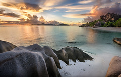 Anse Source d'Argent (inkasinclair) Tags: anse source dargent sunset seychelles la digue praslin granite rocks water ocean reflection landscape africa beach clouds sky island