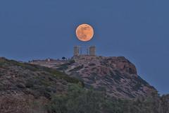 Full Moon Hovering (n.pantazis) Tags: outdoors dusk moon fullmoon moonrise may292018fullmoon classic classical greek poseidon temple ruins marble alighnment pentaxks2 tamron 200mm