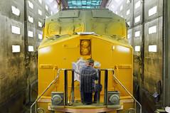 Wingless GEVO—for now… (Moffat Road) Tags: unionpacific up shop locomotiveshop downingbjenksshop jenksshop jenks railroad northlittlerock arkansas ar ge gevo es44ac 5401 repaint paint paintshop lettering scotchlite locomotive train painter carman