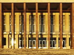 University of Lisbon (RobertLx) Tags: lisbon portugal architecture vertical geometry geometric symmetry building university europe golden brown sunlit window modernism city