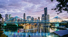 Brisbane river dusk (Lukim) Tags: brisbane storeybridge skyline dusk sunset river ferry hdr sony bridge brisvegas queensland australia autumn reflections clouds landscape cityscape urban city highrise sky water