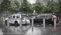 Port Authority Police Department Stealth Tahoe and Patrol Tahoe (nyfrp) Tags: port authority police department papd nypd new york city ny nyc state vehicle tahoe car policecar chevy responding lights sirens black stealth world trade center manhattan downtown west side fast rain