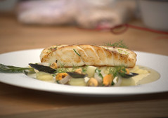 Roast Whitby Cod with Wild Garlic Mash and a Marinière of Shetland Mussels, Herb Oil (Tony Worrall) Tags: add tag ©2018tonyworrall images photos photograff things uk england food foodie grub eat eaten taste tasty cook cooked iatethis foodporn foodpictures picturesoffood dish dishes menu plate plated made ingrediants nice flavour foodophile x yummy make tasted meal nutritional freshtaste foodstuff cuisine nourishment nutriments provisions ration refreshment store sustenance fare foodstuffs meals snacks bites chow cookery diet eatable fodder chef andrew pern malton lovers festival 2018 chefandrewpern maltonfoodloversfestival yorkshire roastwhitbycodwithwildgarlicmashandamarinièreofshetlandmussels herboil cod fish shellfish