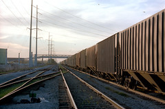 1a-488 (ndpa / s. lundeen, archivist) Tags: nick dewolf nickdewolf photographbynickdewolf 1978 1970s color 35mm film 1a reel1a louisiana southernlouisiana neworleans powerlines bridge rail railroad tracks train traintracks railroadtracks railcars railcar rails birds